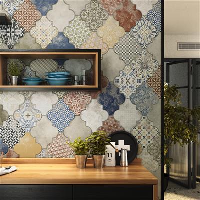 Decorar una cocina pequeña. Ceramicos hexagonales