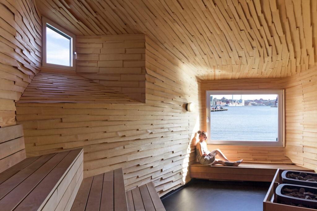 Sauna en el baño público de Suecia